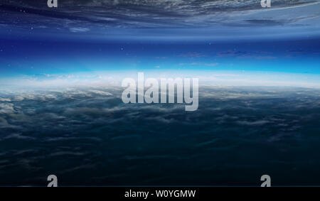 Abstract planets and space texture with sunrise and clouds Stock