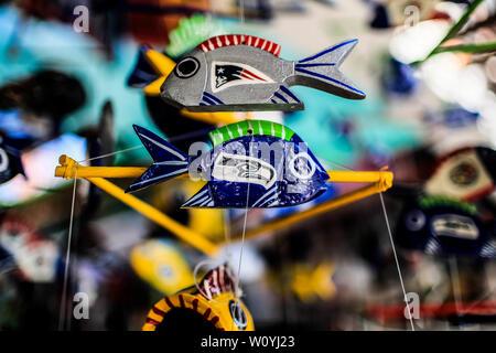 Ceramic fish. Sales of souvenirs in the tourist destination Puerto Peñasco, Sonora, Mexico. crafts, art, handicrafts, beachwear and accessories, ceram - Stock Photo