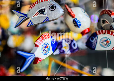 Ceramic fish. Sales of souvenirs in the tourist destination Puerto Peñasco, Sonora, Mexico. crafts, art, handicrafts, beachwear and accessories, ceram - Stock Photo