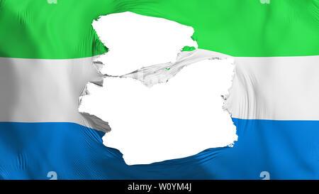 Tattered Sierra Leone flag, white background, 3d rendering - Stock Photo