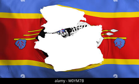 Tattered Swaziland flag, white background, 3d rendering - Stock Photo