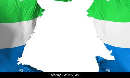 Sierra Leone flag ripped apart, white background, 3d rendering - Stock Photo
