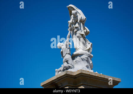 PLOGOFF, FRANCE - July, 13, 2017: Notre Dame des Naufrages statue in Pointe du Raz. - Stock Photo