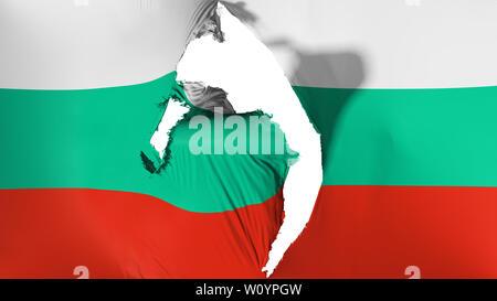 Damaged Bulgaria flag, white background, 3d rendering - Stock Photo