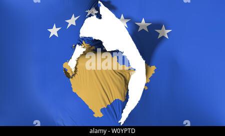Damaged Kosovo flag, white background, 3d rendering - Stock Photo