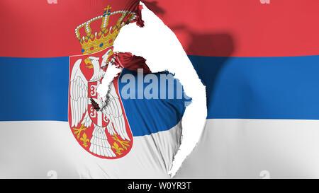 Damaged Serbia flag, white background, 3d rendering - Stock Photo