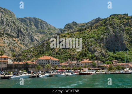 Old Town of Kotor from the Bay, Montenegro - Stock Photo