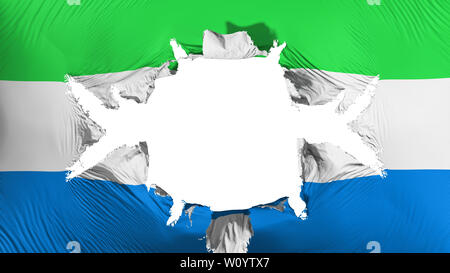 Sierra Leone flag with a big hole, white background, 3d rendering - Stock Photo