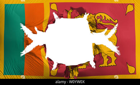 Sri Lanka flag with a big hole, white background, 3d rendering - Stock Photo