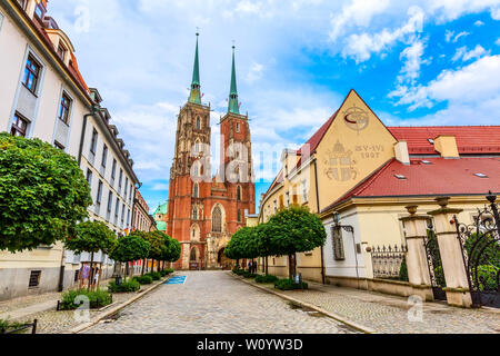 Wroclaw, Poland - June 21, 2019: Ostrow Tumski island and Cathedral of St John the Baptist towers - Stock Photo