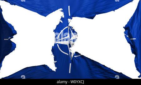 Destroyed North Atlantic Treaty Organization flag, white background, 3d rendering - Stock Photo