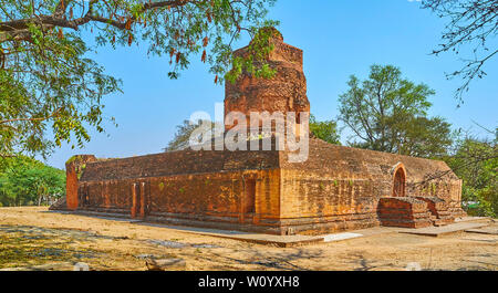 Panorama of Ashe and Anauk Petleik Pagodas archaeological site with a view on ancient brick ruins of the temple, Bagan, Myanmar - Stock Photo