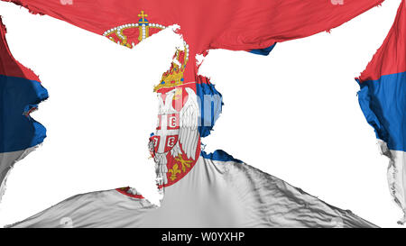 Destroyed Serbia flag, white background, 3d rendering - Stock Photo