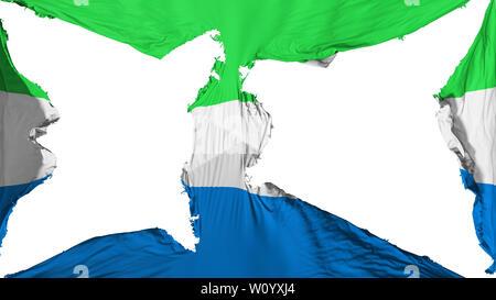 Destroyed Sierra Leone flag, white background, 3d rendering - Stock Photo