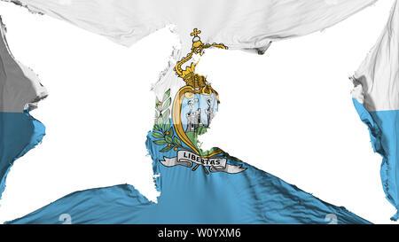 Destroyed San Marino flag, white background, 3d rendering - Stock Photo
