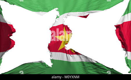 Destroyed Suriname flag, white background, 3d rendering - Stock Photo
