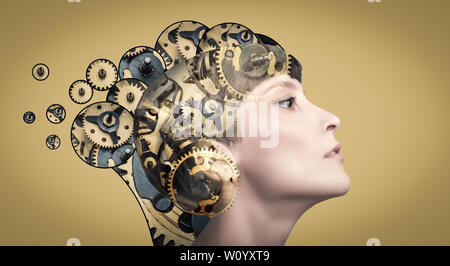 Thinking businesswoman with gear mechanisms on her head - Stock Photo