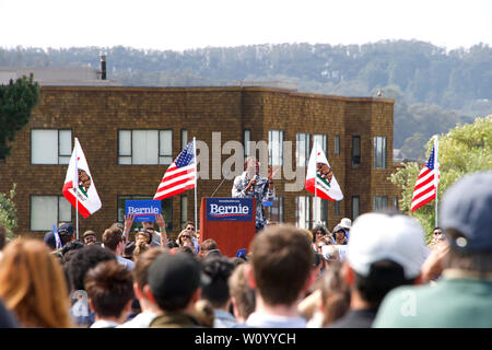 San Francisco, CA - March 24, 2019: Nina Turner, Democrat from Ohio speaking to the crowd at Bernie Sander's presidential rally held in Great Meadow P - Stock Photo