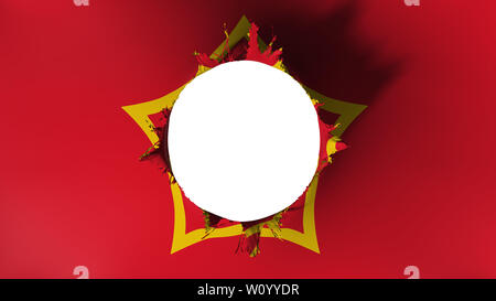 Hole cut in the flag of Soviet Union, white background, 3d rendering - Stock Photo