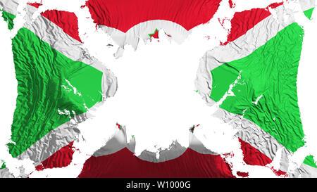 Burundi torn flag fluttering in the wind, over white background, 3d rendering - Stock Photo