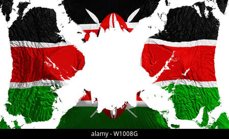 Kenya torn flag fluttering in the wind, over white background, 3d rendering - Stock Photo