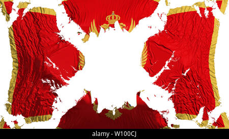 Montenegro torn flag fluttering in the wind, over white background, 3d rendering - Stock Photo