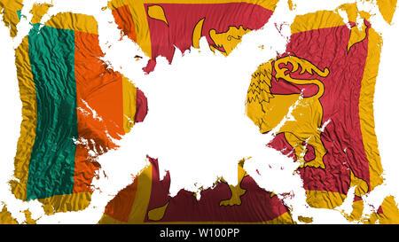 Sri Lanka torn flag fluttering in the wind, over white background, 3d rendering - Stock Photo
