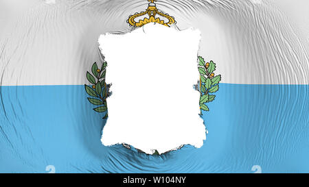 Square hole in the San Marino flag - Stock Photo