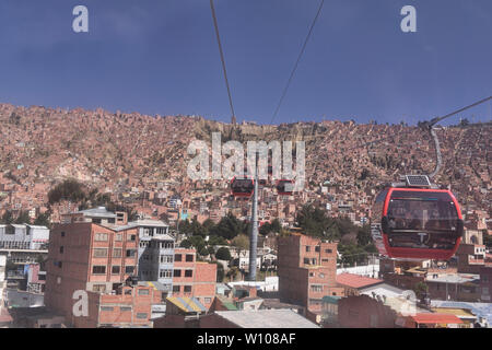 Aerial view of the city from the Mi Teleférico aerial cable car, La Paz, Bolivia - Stock Photo