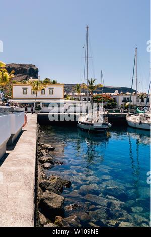 boats in the harbour, Puerto de Mogan, Gran Canaria, Spain. - Stock Photo