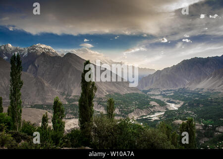 Bird's Eye View of Hunza Valley, Pakistan. The beautiful Hunza Valley is surrounded by Karakoram Mountains. - Stock Photo
