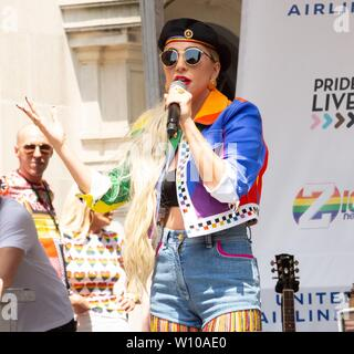 New York, NY, USA. 28th June, 2019. Lady Gaga on stage for Pride Live's 2019 Stonewall Day, The Stonewall Inn, New York, NY June 28, 2019. Credit: RCF/Everett Collection/Alamy Live News - Stock Photo
