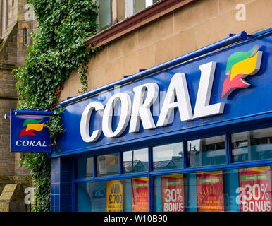 Coral bookmakers betting shop name sign, Barnton Street, Stirling, Scotland, UK - Stock Photo