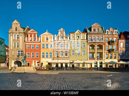 Colorful renaissance facades of old buildings on the Maket square in Poznan, Poland - Stock Photo