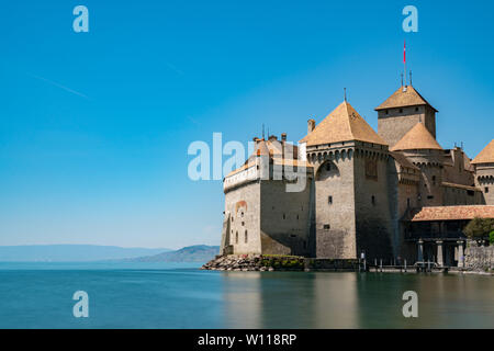 Montreux, VD / Switzerland - 31 May 2019: the historic Chillon Castle on the shores of Lake Geneva - Stock Photo