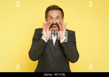 Man shouting to you. Art of negotiations. Man try to persuade you in something. Mature charismatic speaker try to persuade. Public talk and art of persuasive. Oratory concept. Can you hear him. - Stock Photo