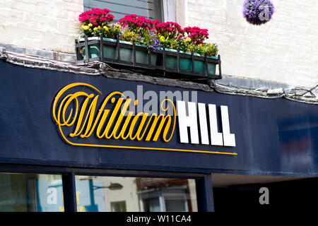 William Hill bookmakers sign, company founded by William Hill in 1934 at a time when gambling was illegal in Britain - Stock Photo