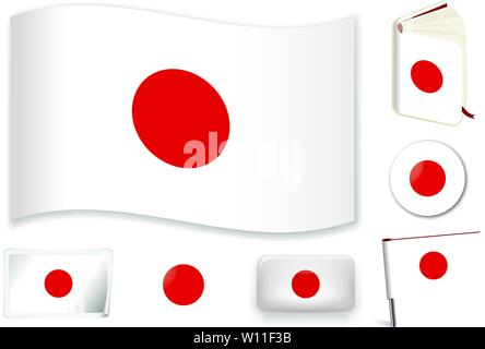 Japan. Japanese national flag. Vector illustration. 3 layers. Shadows, flat flag, lights and shadows. Collection of 220 world flags. Accurate colors. Easy changes. - Stock Photo
