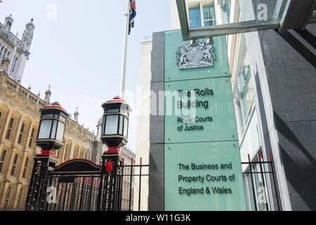 Entrance to the Rolls Building, Royal Courts of Justice, Business and Property Courts of England and Wales, Fetter Lane, London, UK - Stock Photo