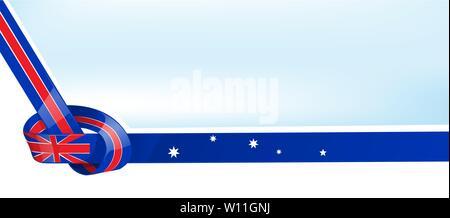 Australian ribbon flag on bue sky background - Stock Photo