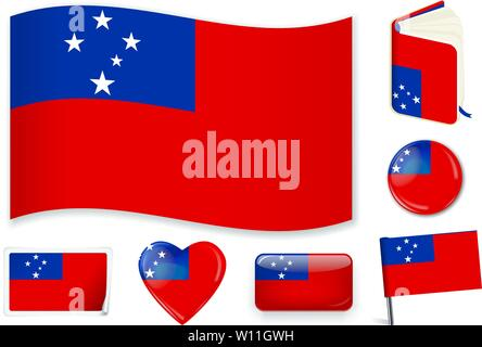 Samoa. Samoan national flag. Vector illustration. 3 layers. Shadows, flat flag, lights and shadows. Collection of 220 world flags. Accurate colors. Easy changes. - Stock Photo