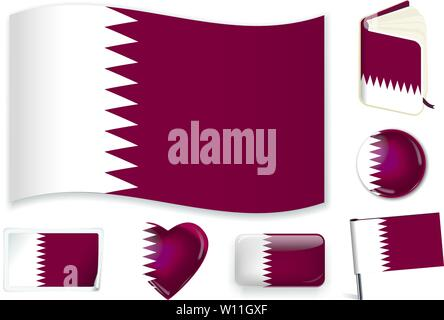 Qatar. Qatari national flag. Vector illustration. 3 layers. Shadows, flat flag, lights and shadows. Collection of 220 world flags. Accurate colors. Easy changes. - Stock Photo