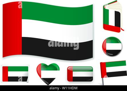 United Arab Emirates national flag. Vector illustration. 3 layers. Shadows, flat flag, lights and shadows. Collection of 220 world flags. Accurate colors. Easy changes. - Stock Photo