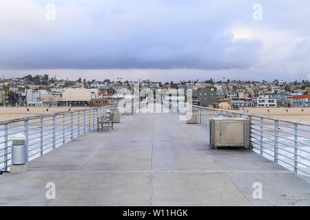 HERMOSA BEACH, USA - MAY 21, 2019: Centered View of the Coast at Hermosa Beach (Los Angeles). Photographed from the End of the Hermosa Beach Pier.