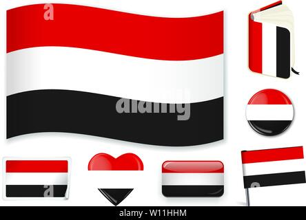 Yemen. Yemeni national flag. Vector illustration. 3 layers. Shadows, flat flag, lights and shadows. Collection of 220 world flags. Accurate colors. Easy changes. - Stock Photo