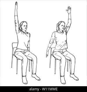 The girl sits on a chair and is engaged in physical therapy. Vector format, imitation of freehand drawing. Set of isolated black and white gymnast vec - Stock Photo