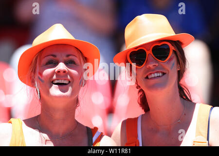 Valenciennes, France. 29th June, 2019. Supporters of the Netherlands react before the quarterfinal between Italy and the Netherlands at the 2019 FIFA Women's World Cup in Valenciennes, France, June 29, 2019. Credit: Zheng Huansong/Xinhua/Alamy Live News - Stock Photo