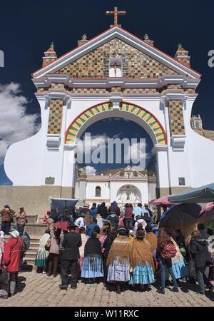 Entrance to the Basílica de Nuestra Señora church in Copacabana, Bolivia - Stock Photo