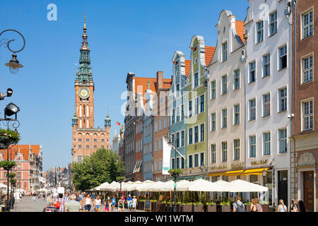 Gdansk / Poland - Tourists visiting the 'Long Market' (polish: Dlugi Targ) - most famous and representative street in the old town. - Stock Photo