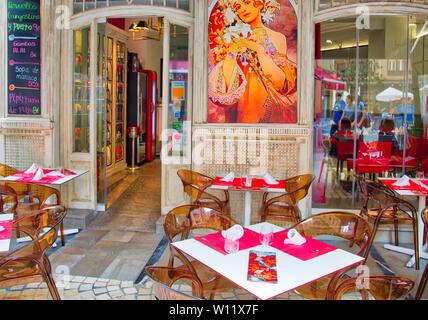 Malaga, Spain-May 16, 2019: Spanish restaurant serving national food in Malaga historic city center - Stock Photo